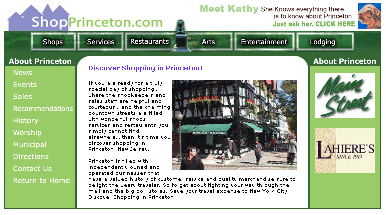 ShopPrinceton.com was the first comprehensive listing of shops, services, restaurants, arts and entertainment in Princeton NJ